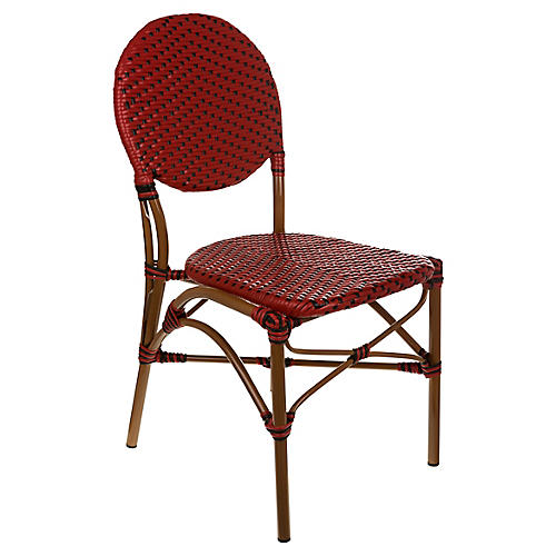 Café Outdoor Bistro Side Chair, Red/Black