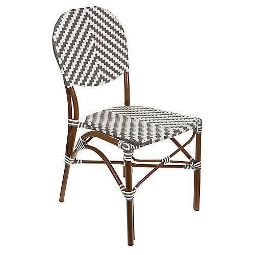 Café Outdoor Bistro Side Chair, Gray/White