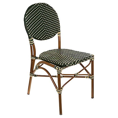 Café Outdoor Bistro Side Chair, Green/Cream