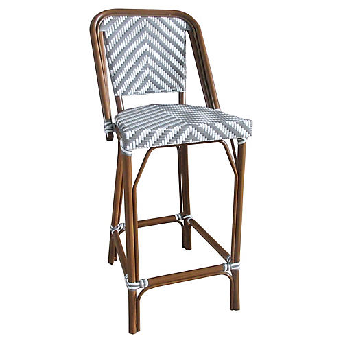 Bistro Outdoor Barstool, Gray/White