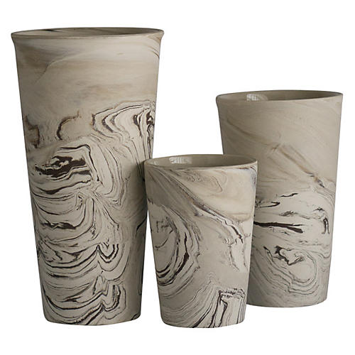 Asst. of 3 Ceramic Marbleized Vases