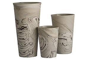 Asst. of 3 Ceramic Marbleized Vases