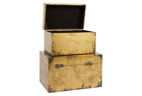 Asst. of 2 Cladded Brass Boxes