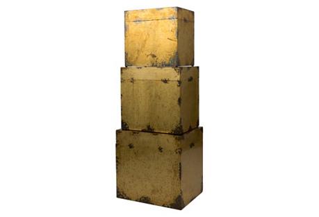 Asst. of 3 Cladded Brass Trunks
