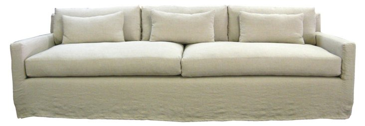 "Kathy 108"" Linen Slipcover Sofa, Flax"