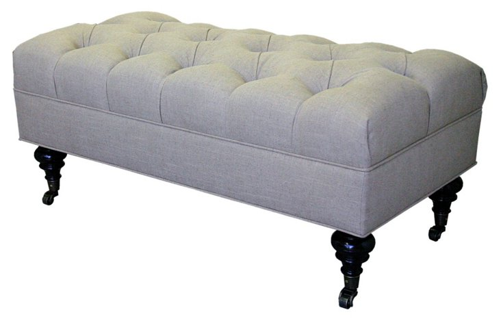 "Dwyer 40"" Tufted Linen Bench, Light Gray"