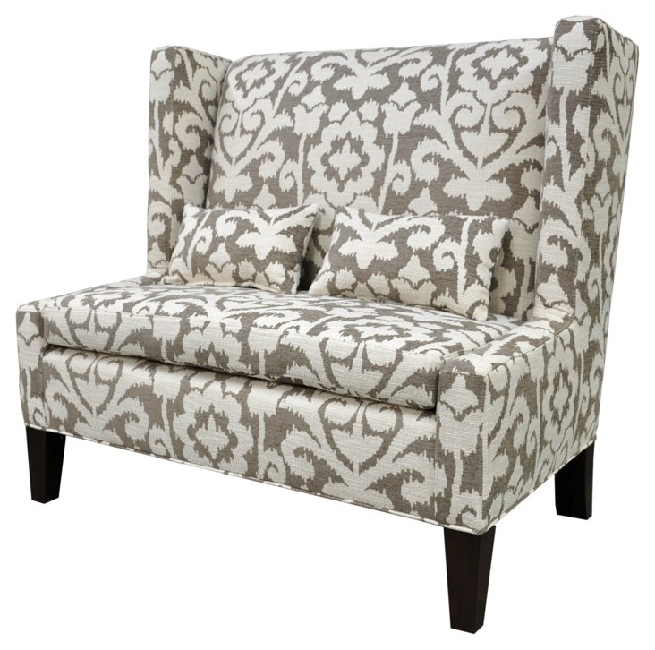 "Lindsey 48"" Wingback Loveseat, Taupe"