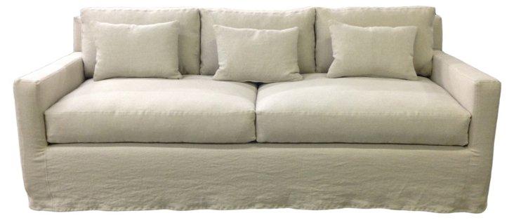 """Kathy 88"""" Linen Sofa, Oatmeal"""