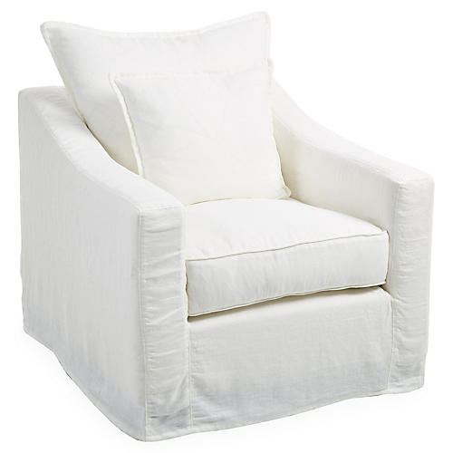Darcy Swivel Club Chair, Oyster Linen