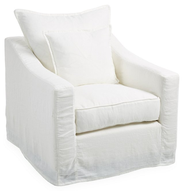 Darcy Slipcover Chair, Oyster Linen