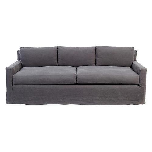 Kathy Linen Slipcover Sofa, Gray