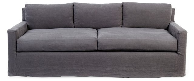 "Kathy 88"" Linen Slipcovered Sofa, Gray"