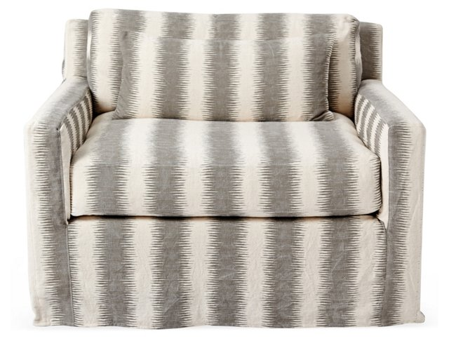 Kelsey Club Chair, Gray/Ivory