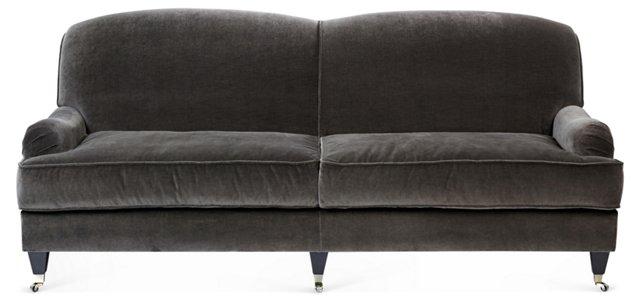 """Abbey 84"""" Velvet Sofa, Charcoal"""