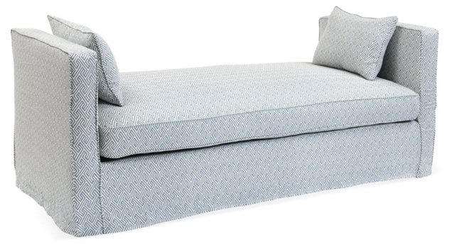 Reed Linen Daybed, Blue/Ivory