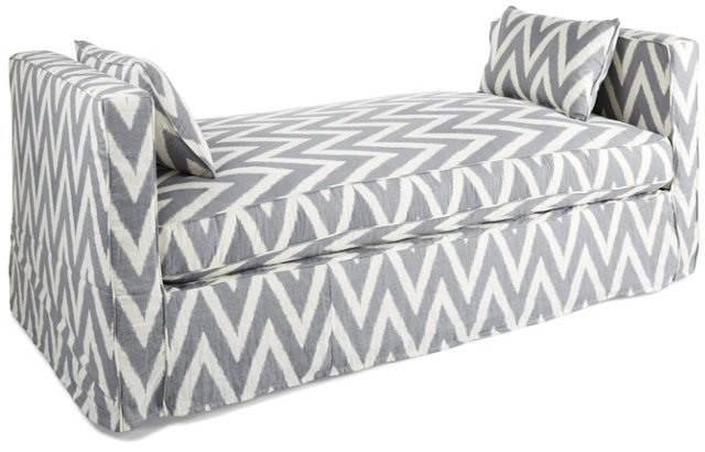 Reed Linen Daybed, Gray/White Chevron
