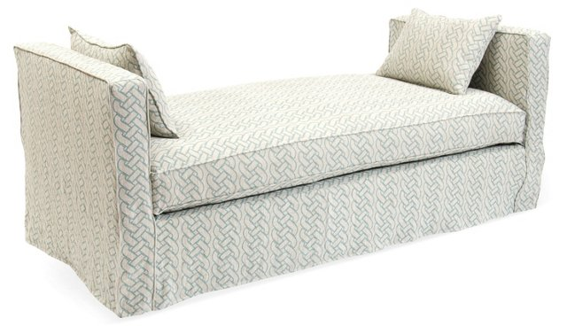 Reed Linen Daybed, Green/Oatmeal