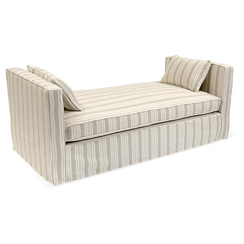 Reed Linen Daybed, Pebble/Ivory