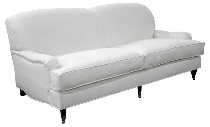 "Abbey 84"" Linen Sofa, White"