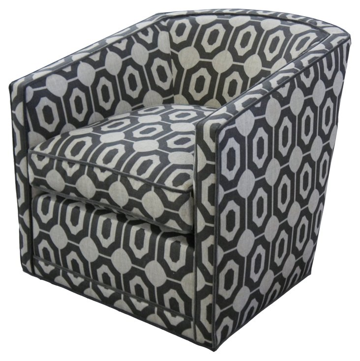 Miley Linen Tub Chair, Charcoal/Smoke