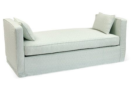 Reed Linen Daybed, Turquoise/Ivory