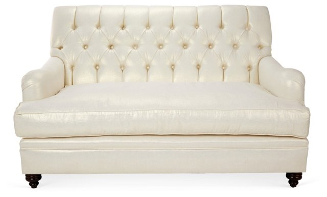 """Laura 64"""" Tufted Loveseat, Ivory/Gold"""