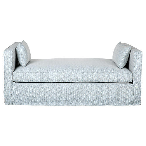 Reed Linen Daybed, Light Blue