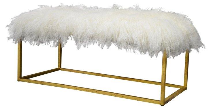 "Block 40"" Sheepskin Bench, Ivory/Gold"