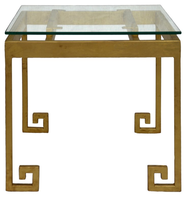 Greco Greek Key Side Table, Gold