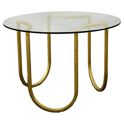 """Swivel 30"""" Round Side Table, Gold"""