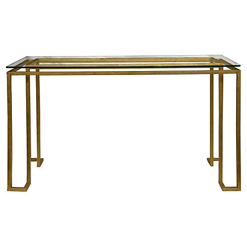 "Linear 50"" Console Table, Gold"