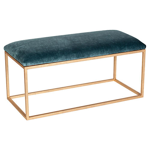 Block Velvet Bench, Jade/Gold