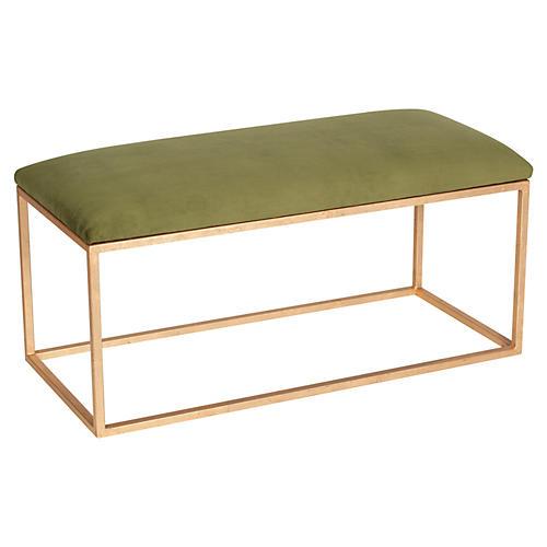 Block Velvet Bench, Green/Gold