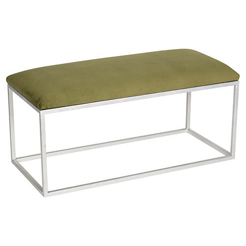 Block Velvet Bench, Green/Silver