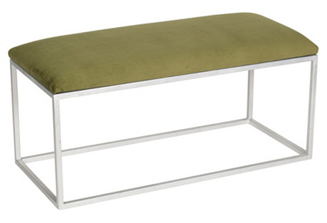 Block Velvet Bench, Green/Silver