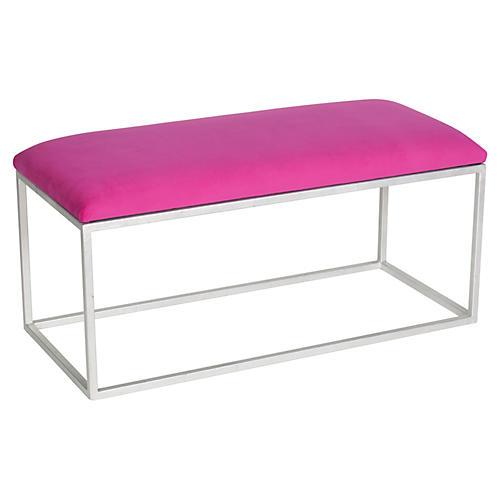 Block Velvet Bench, Pink/Silver
