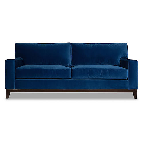 Manhattan Velvet Sofa, Blue