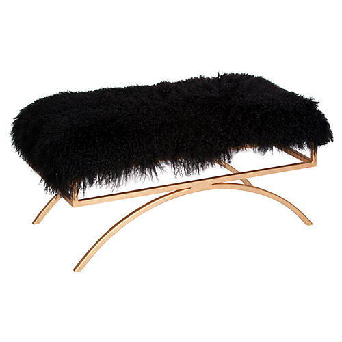 Troy Sheepskin Bench, Black