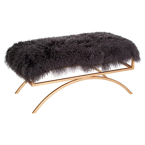 Troy Sheepskin Bench, Gray