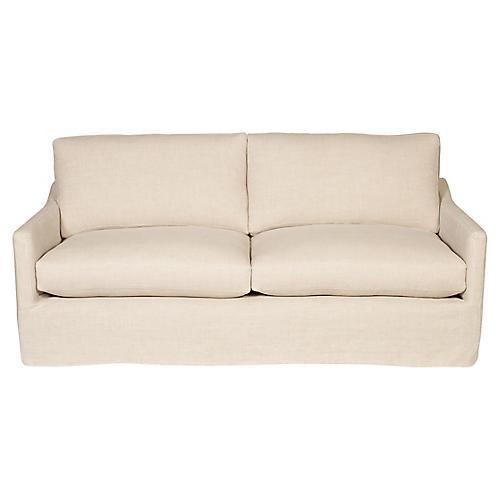 Megan Slipcover Sofa, Oatmeal Linen