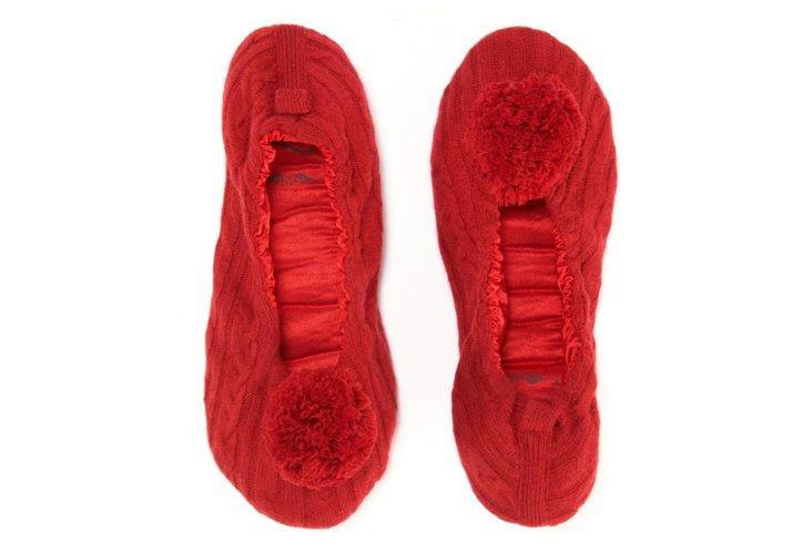 Cashmere Pom-Pom Slippers, Ruby Red