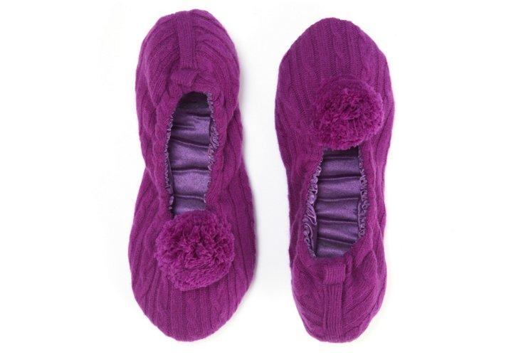 Cashmere Pom-Pom Slippers, Purple