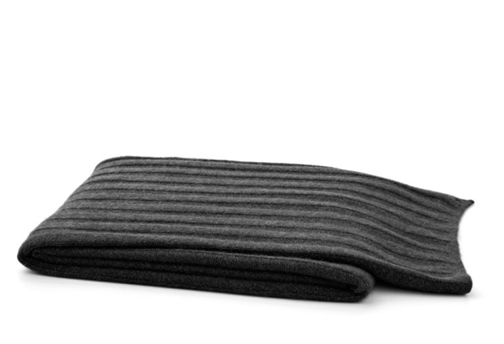 Cashmere Ribbed Throw, Charcoal