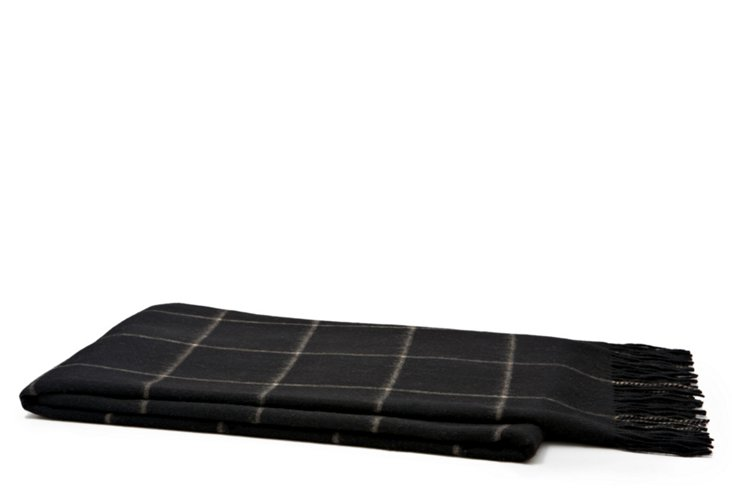 Wool Plaid Throw, Black/Camel