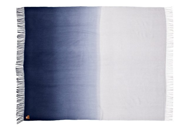 Dip-Dye Throw, Powder Blue/Navy