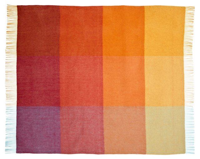 Color-Block Cashmere Throw, Orange