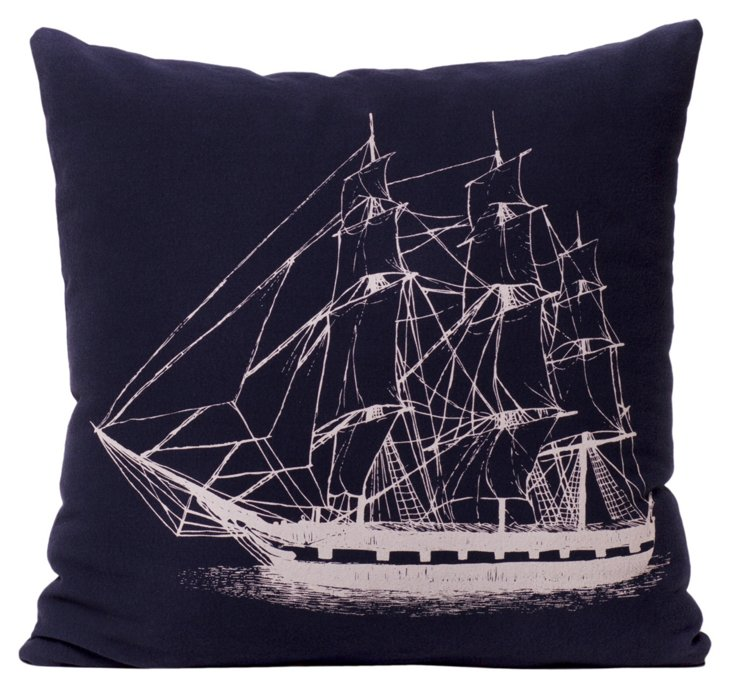 Ship 17x17 Pillow, Navy