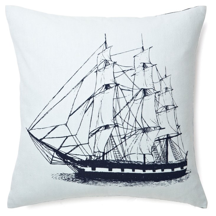 Ship 17x17 Cotton-Blend Pillow, Blue