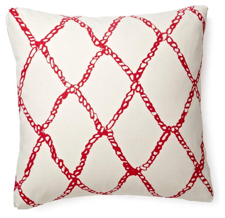 Fishermen's Net 17x17 Pillow, Hibiscus