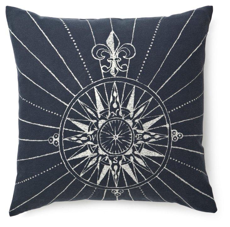 Compass 20x20 Cotton Pillow, Navy